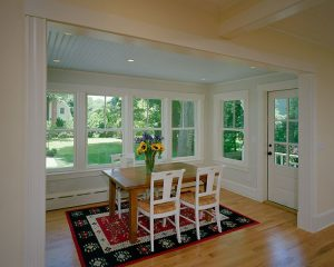 Concord Cottage Style Windows In Dining Room With White Solid Wood Material And Clear Glazing Together With Dining Table And Chairs Plus Rug